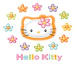 Hello Kitty face with flowers