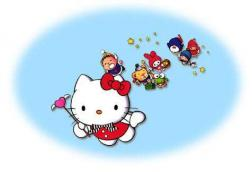 Hello Kitty flying in the sky with friends