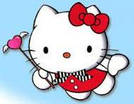 Hello Kitty flying on the sky