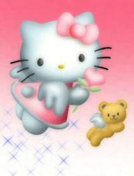 Hello Kitty flying with tedy bear with their angle wings