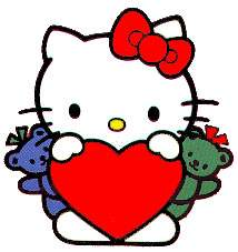 Hello Kitty holding a big read heart