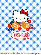 Hello Kitty holding fruits with blue background