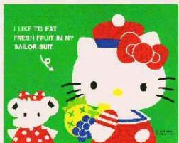 Hello Kitty holding fruits