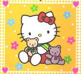 Hello Kitty holding two tedy bears with yellow background