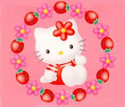 Hello Kitty around with flowers and strawberries
