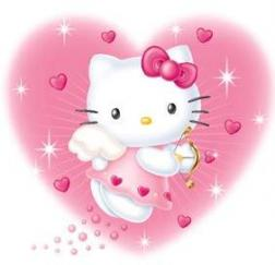 Hello Kitty as an angle with a big pinkish hearted background