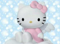 Hello Kitty as an angle with blue sky