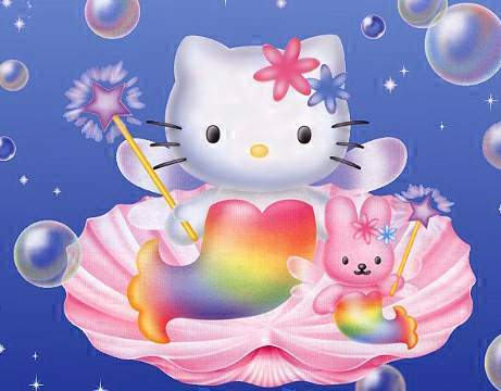 Hello Kitty as mermaid with rabite friend