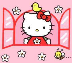 Hello Kitty at a read pinkish window with a yellow bird on it's head