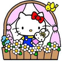 Hello Kitty at the window with full of flowers