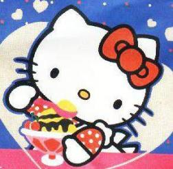 Hello Kitty eating ice cream