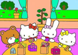 Hello Kitty eating lunch with friends
